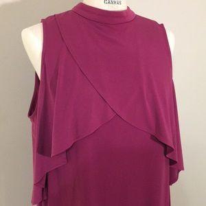 Purple sleeveless knit dress